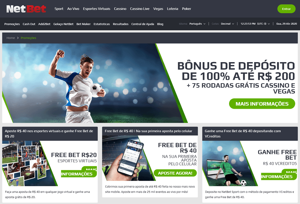 NetBet página de bônus free bet