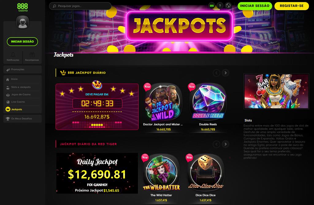 888 Casino jackpots jogos exclusivos