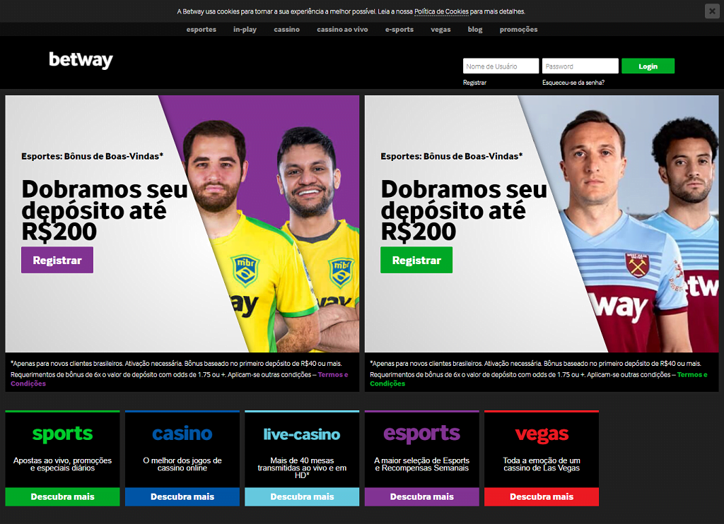 Betway site de apostas layout