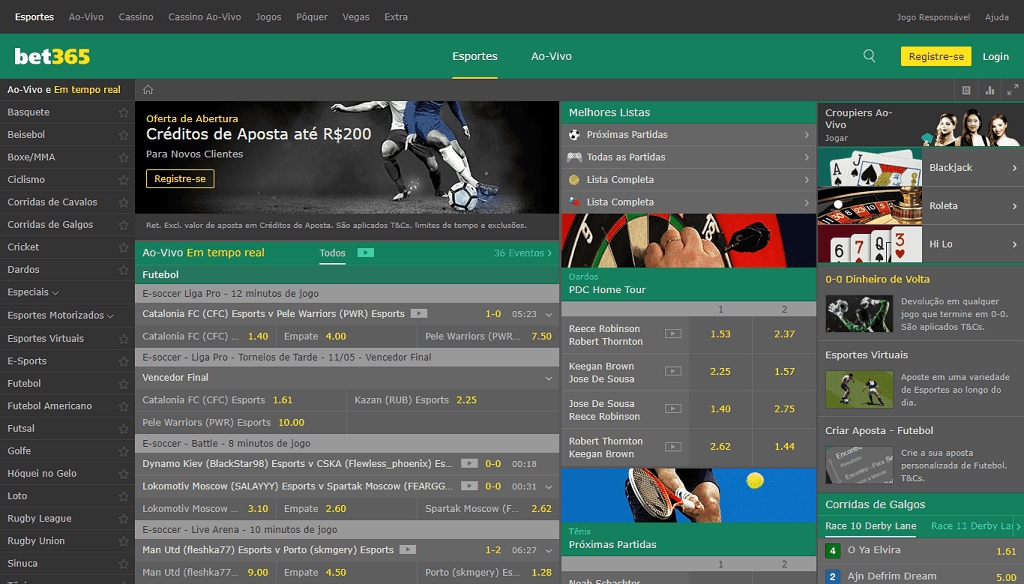 Bet365 site de apostas layout