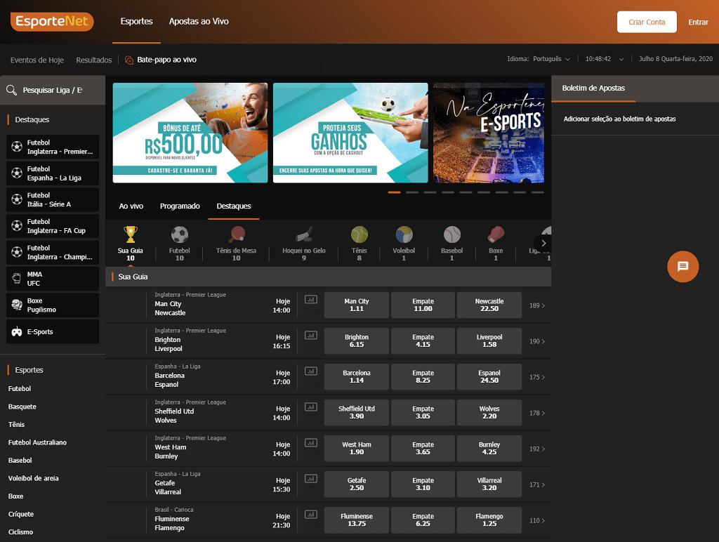 Esportenet verdadeiro layout